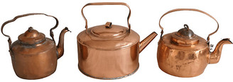 One Kings Lane Vintage French Copper Teapots Kettles - Set of 3