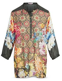 Johnny Was Mixed Print Silk Bettina Tunic
