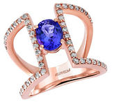 Effy Tanzanite Royale Diamond and 14K Rose Gold Cutout Ring, 0.59TCW