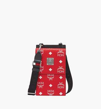 MCM Crossbody Phone Case In White Logo Visetos
