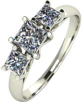 Moissanite 9ct White Gold 1ct 3 Stone Square Cut Ring