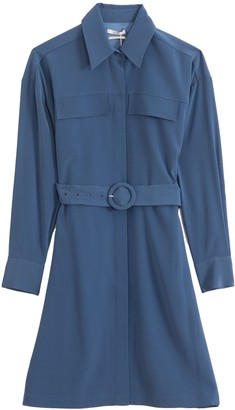 Co Stretch Crepe Shirt Dress in Indigo