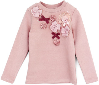 MaeLi Rose Girls' Blouses MAUVE - Mauve Floral & Bow-Accent Sweater - Toddler & Girls
