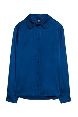 Twist & Tango - Thyra blue blouse with rounded collar - polyester | blue | 40 - Blue/Blue