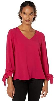 CeCe 3/4 Tie Sleeve V-neck Top w Bows (Plumeria) Women's Blouse
