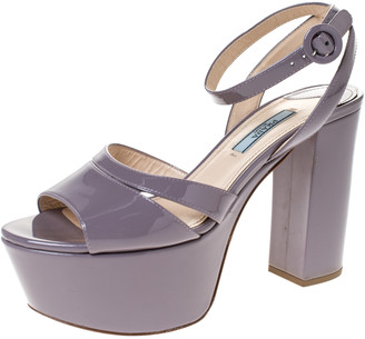 Prada Purple Patent Leather Open Toe Ankle Strap Platform Sandals Size 37.5