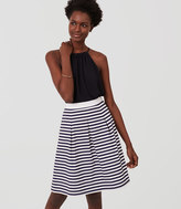 LOFT Striped Pleated Skirt