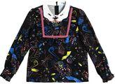 Vivetta Hand Collar Printed Viscose Flannel Top