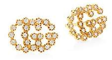 Gucci Women's Running G Diamond 18K Yellow Gold Stud Earrings
