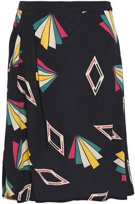 BA&SH Ruched Printed Crepe De Chine Skirt