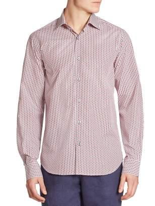 Saks Fifth Avenue Fish-Print Regular-Fit Shirt