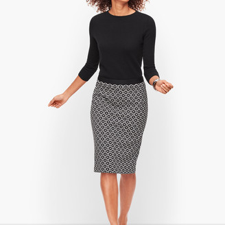 Talbots Jacquard Dot Pencil Skirt