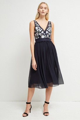 French Connection Abriana Embroidered V Neck Dress