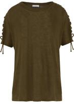 IRO Steiro Lace-Up Linen-Jersey T-Shirt