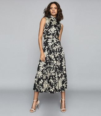 Reiss Briella - Floral Printed Midi Dress in Black