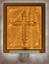 Lithophane - Religous Cross Flat Porcelain Lithophane Nightlight
