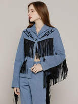 R Fringe Trim Denim Jacket