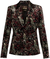 Roberto Cavalli Morris-print velvet blazer