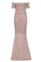 Quiz Dusky Pink Lace Sequin Bardot Scallop Maxi Dress