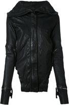Barbara I Gongini broad lapels leather jacket - women - Cotton/Lamb Skin - 36