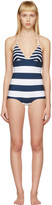 Dolce & Gabbana White & Navy Striped Triangle Swimsuit