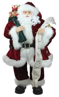 "Northlight 36"" Standing Santa Claus Holding a Naughty or Nice List Christmas Figure"