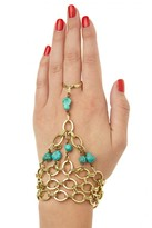 L. GEORGE Turquoise Embellished Brass Hand Chain