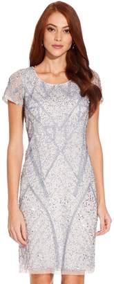 Adrianna Papell Womens Blue Beaded Short Dress - Blue