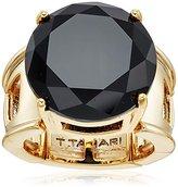 T Tahari Gold Round Jet Ring, Size 7-9