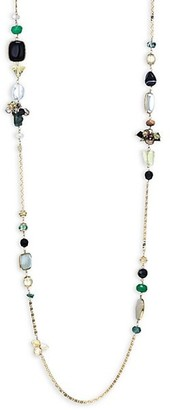 Gas Bijoux Victorian 24K Goldplated, Black Onyx, Green Jade & Clear Quartz Beaded Station Necklace