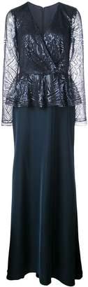 Tadashi Shoji sequinned peplum gown