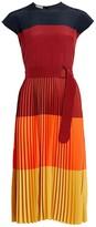 Akris Punto Colorblock Pleated Midi Dress
