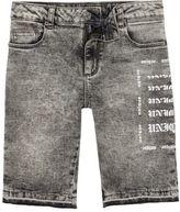 River Island Boys Grey Dylan acid wash skinny denim shorts
