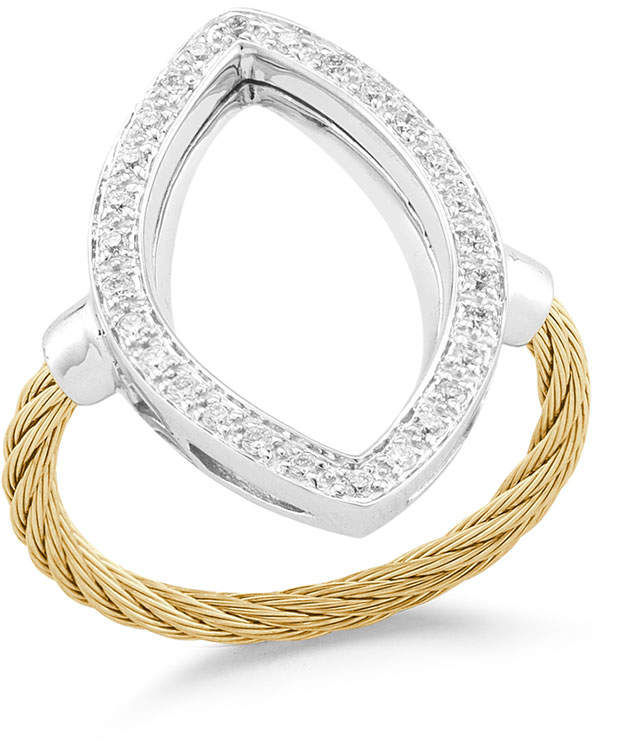 Alor Open Diamond Pave Marquise Ring, Yellow, Size 6.5