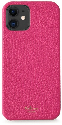 Mulberry iPhone 12 Case Pink Heavy Grain