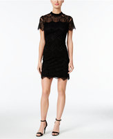 Calvin Klein Petite Burnout Lace Mock-Neck Dress