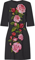 Dolce & Gabbana Floral-print Crepe Mini Dress - Black