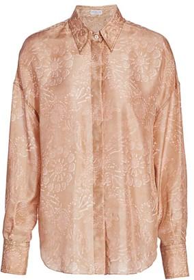 Brunello Cucinelli Blush Floral Silk Blouse