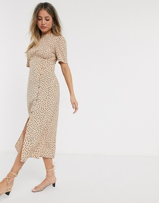 ASOS DESIGN midi tea dress with buttons in spot