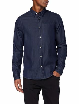Scotch & Soda Men's Long Sleeve Indigo Shirt with Pochet Pocket Casual