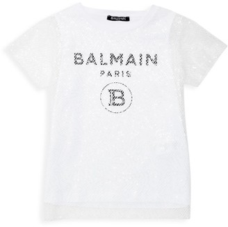 Balmain Little Girl's & Girl's 2-in-1 Logo Tank Tee