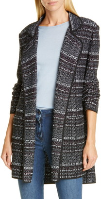 St. John Open Front Texture Boucle Tweed Jacket