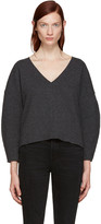 BLK DNM Grey Wool V-Neck Sweater