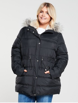 V By Very Curve Faux Fur Longline Padded Coat - Black