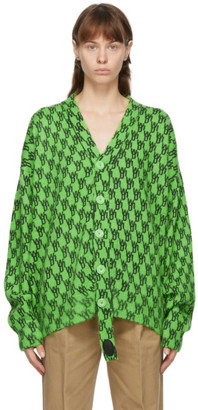 we11done Green Mohair Logo Cardigan