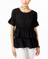INC International Concepts Ruched Ruffled Top, Only at Macy's