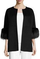 Michael Kors Fur-Cuff 3/4-Sleeve Coat