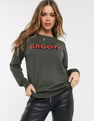 Blend She Windon groovy slogan sweater in wool blend