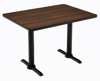 "KFI Studios Mode Pedestal Table Base Finish: Silver, Top Finish: Walnut, Size: 41"" H x 30"" W x 60"" D"