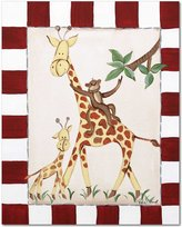 """Doodlefish Gallery-Wrapped 16""""x20"""" Wall Art, Giraffes and Monkey"""